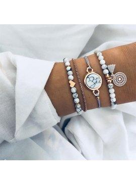 Joboly Set of bracelets marble love heart mandala 4 pieces