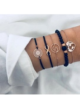 Joboly Set armbanden kralen infinity hartje 5 delig