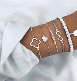 Joboly Set armbanden kralen infinity olifant klavertje 5 delig