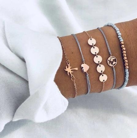 Joboly Armbänder Münzset Herz Palme 5 Teile
