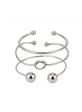 Joboly Set armbanden knot knoop  bolletjes 3 delig