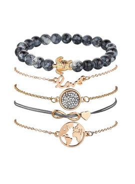Joboly Set armbanden infinity love hartje diamant wereldbol en schildpad 5 delig