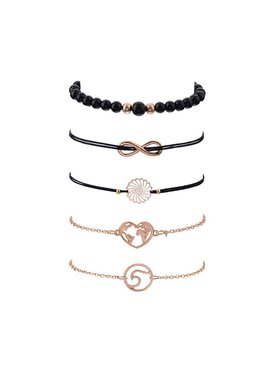 Joboly Set of bracelets beads infinity heart 5 pieces