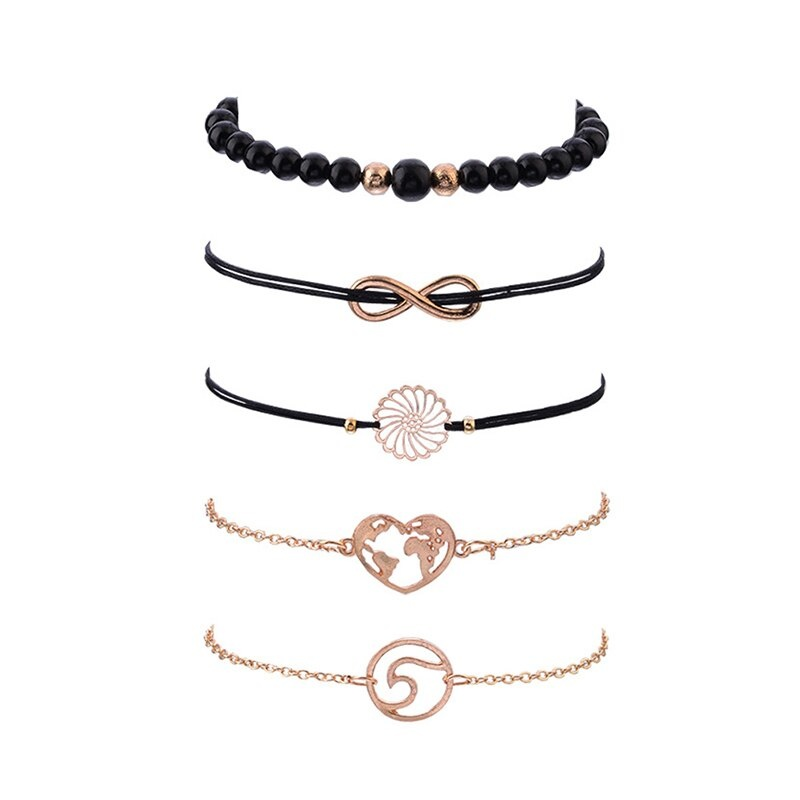 Joboly Set of bracelets beads infinity heart 5 pieces