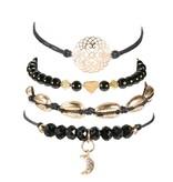 Joboly Set of bracelets marble shell heart moon mandala 4 pieces