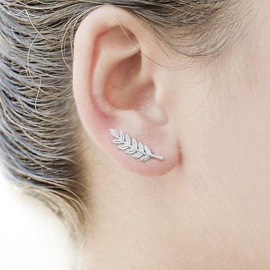 Joboly Trendy leaf feather leaf earrings along your ear line short