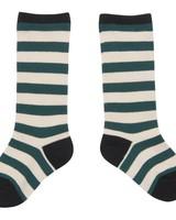 CarlijnQ Knee socks stripe green off white