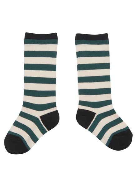 CarlijnQ Knee socks stripe green off white