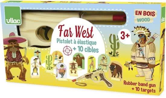 vilac Farwest, spel met houten pistool en elastiekjes
