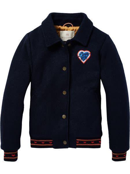 Scotch & Soda Wollen bomber jacket met leopard kraag 146969