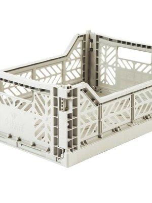 Folding Crate Midi light grey