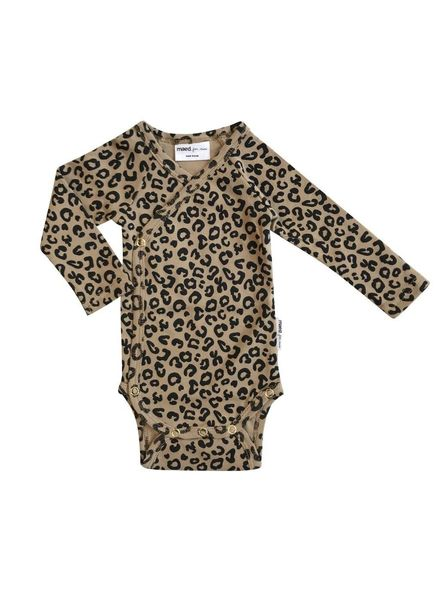 Maed for mini brown leopard romper