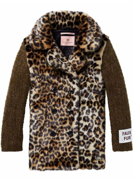 Scotch & Soda Faux fur jas met luipaardprint