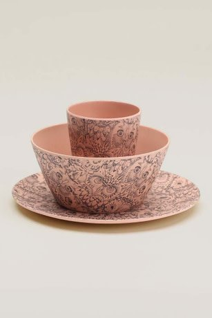 Soft Gallery Bamboo servies coral owl