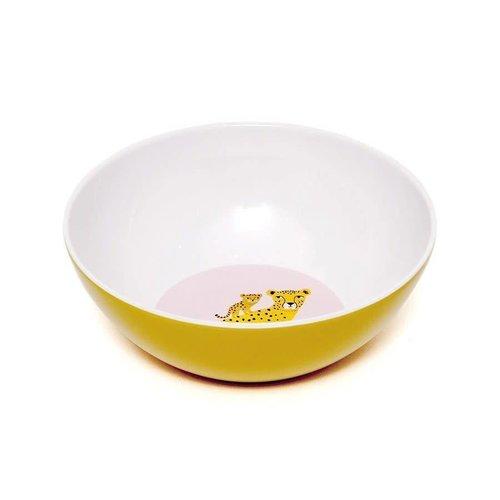 Melamime bowl leopard ochre