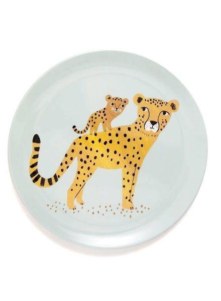 Petit Monkey Melamine plate leopard aqua