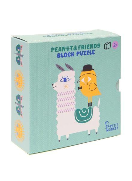 Petit Monkey Pinda & vrienden blokpuzzel 9 stuks