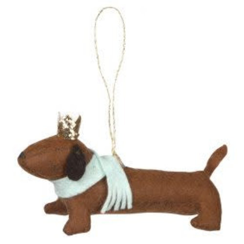 Merimeri Felt sausage dog ornament