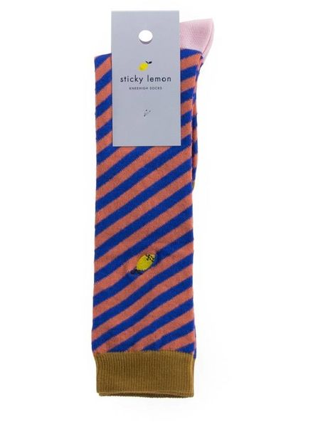 sticky lemon Socks Diagonal stripe Ink blu - Peachy