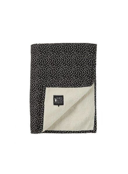 Mies & co Baby soft teddy blanket Cozy Dots black (70x100cm) // wieg