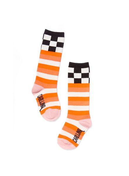 CarlijnQ CarlijnQ knee socks - checks / pink