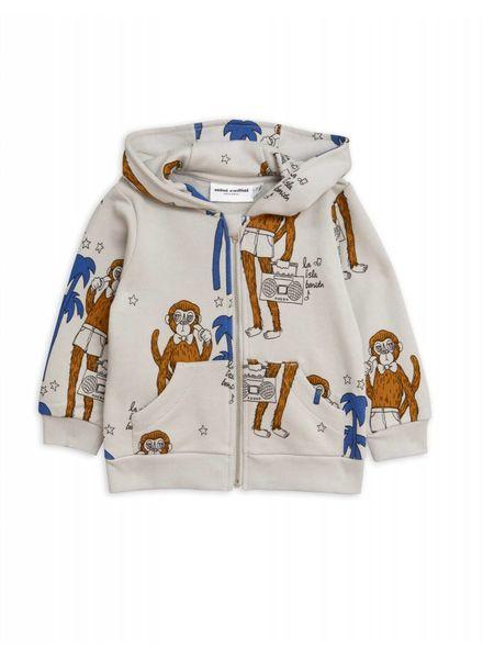 Mini rodini Cool monkey zip hood grey