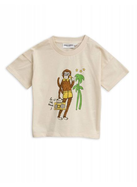 Mini rodini Cool monkey sp tee off white