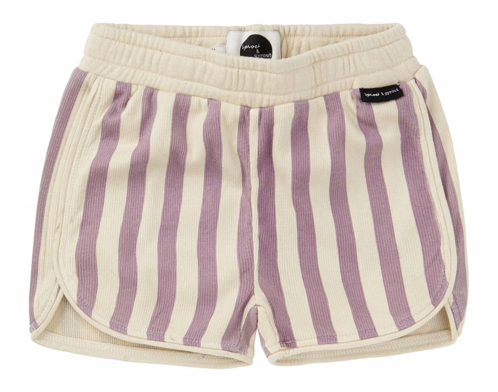 Sproet&Sprout Sport Short 'Stripe' dusty violet