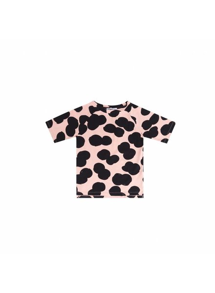 mingo T-shirt Double dot print peach pink / black