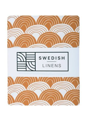 Swedish linens Baby flat sheet 70 X 100 cinnamon rainbow