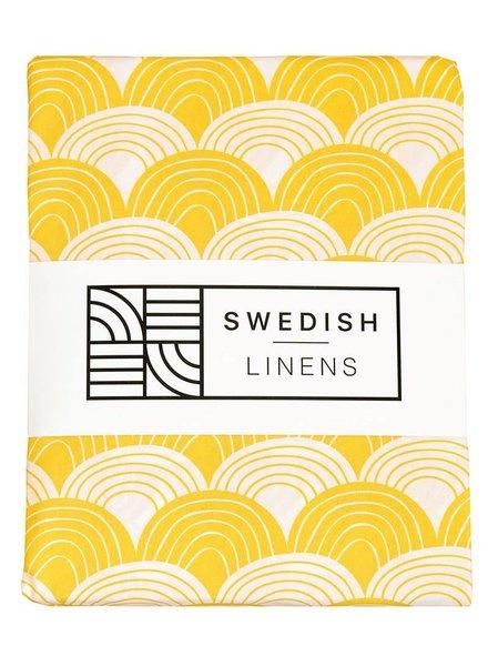 Swedish linens Baby flat sheet 70 X 100 mustard yellow