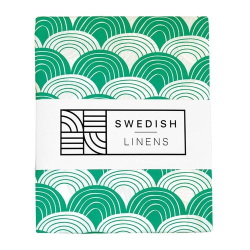Swedish linens Pine green Fitted sheet grey 60 x 120
