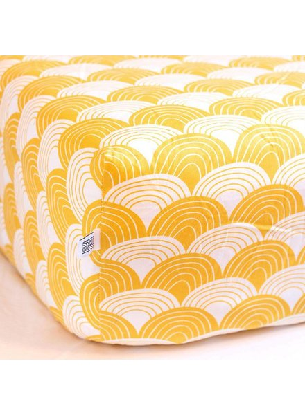 Swedish linens Mustard yellow Fitted sheet grey 60 x 120