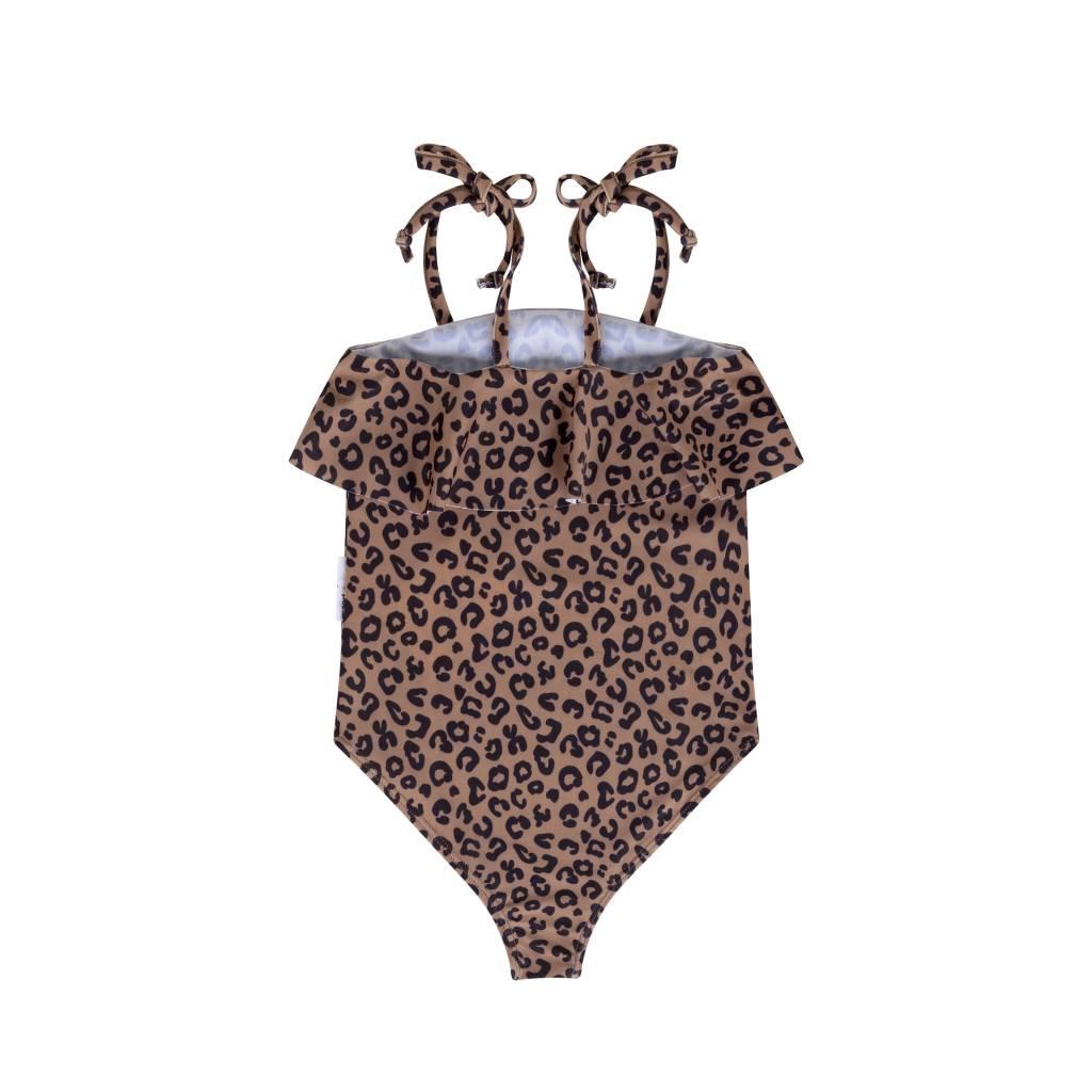 Maed for mini Brown Leopard Swim Suit