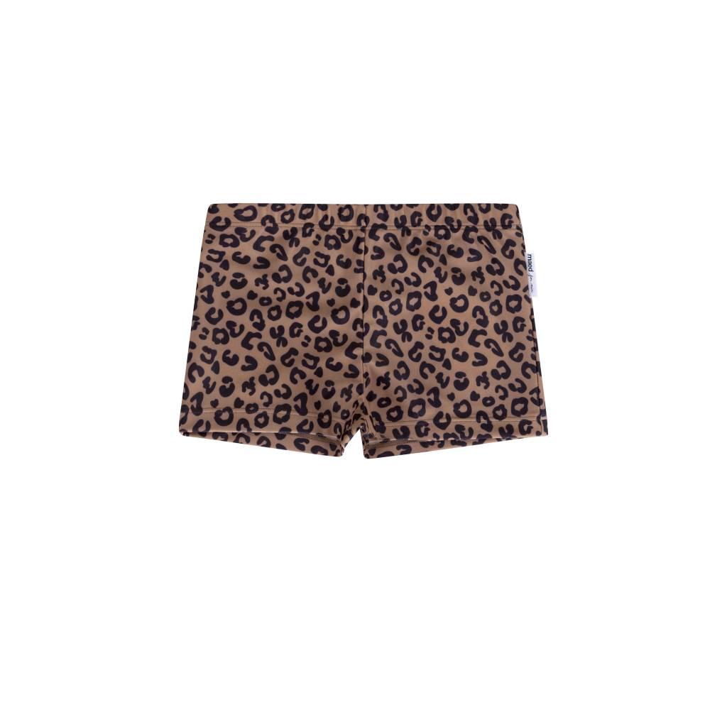 Maed for mini Brown Leopard Swim Shorts Boys