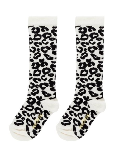 Maed for mini White Leopard Knee Socks