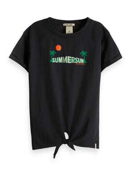 Scotch & Soda Boxy fit shirt met knoopje zwart summersun