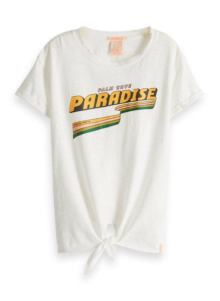 Scotch & Soda Boxy fit shirt met knoopje wit paradise