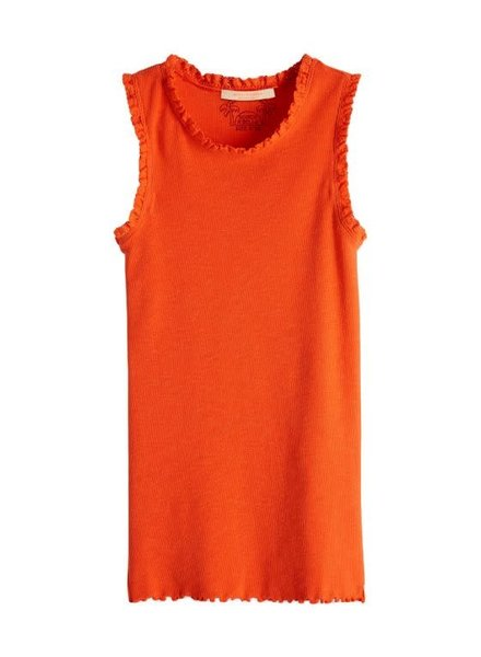 Scotch & Soda Basic rib tanktop met kanten randjes