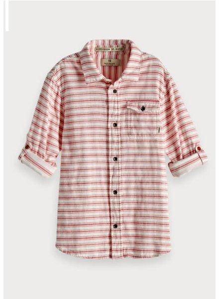 Scotch & Soda Geweven blouse gestreept rood regular fit 149302