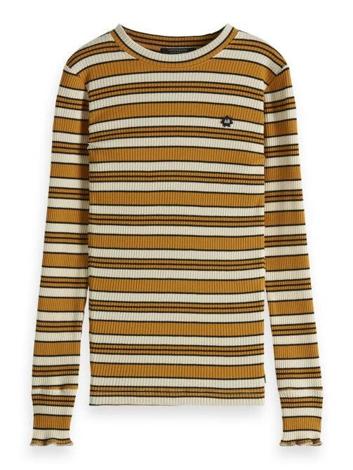 Scotch & Soda Striped longsleeve 150885 oker + blauw
