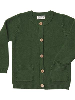 CarlijnQ Knit basics - cardigan with pockets (green)