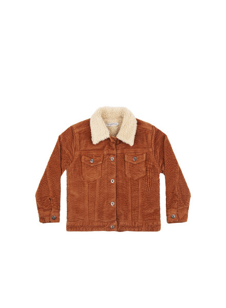 mingo Oversized Jacket leather brown/ off white