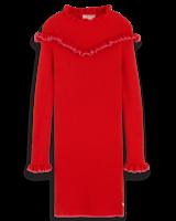 Scotch & Soda Gebreiden rode jurk met roezels 151853