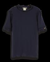 Scotch & Soda Aansluitend tshirt donkerblauw met roezels 151727
