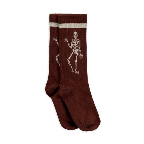 Mini rodini Skeleton knee sock brown