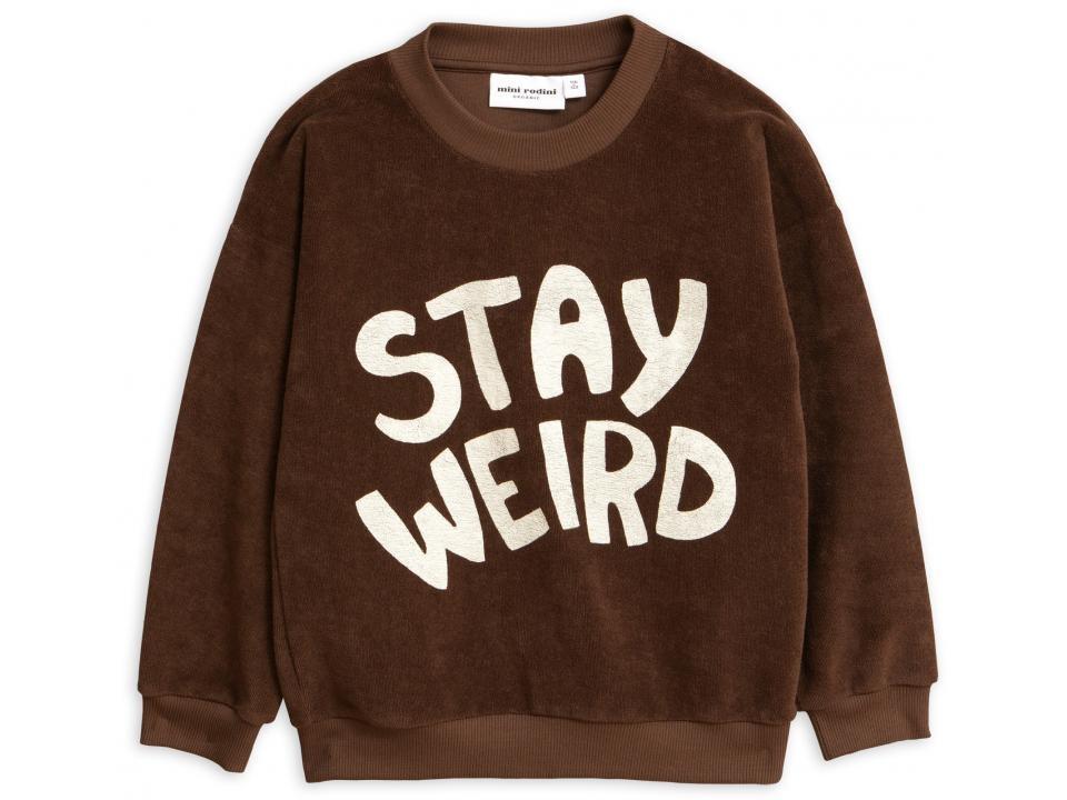 Mini rodini Stay weird sp terry sweatshirt brown