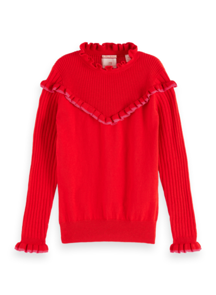 Scotch & Soda Crew neck pull with ruffles 151778
