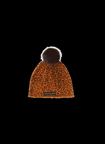 House of Jamie Pom pom hat Golden Brown Leopard