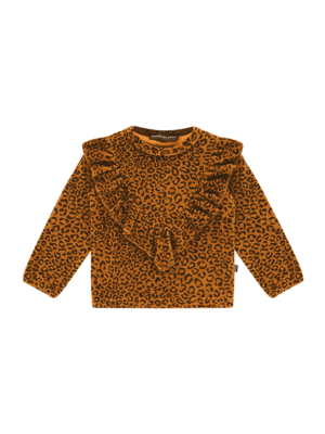 House of Jamie Front ruffled sweater golden brown leopard 92/98